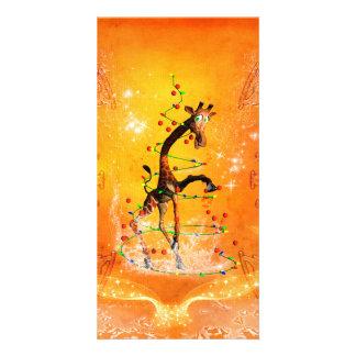Cartoon giraffe with christmas tree photo card template