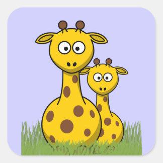 cartoon giraffes square sticker