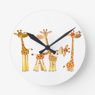 Cartoon Giraffes: The Herd Wall Clock