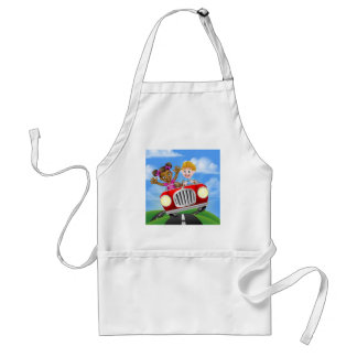 Cartoon Girl and Boy Driving Car Standard Apron