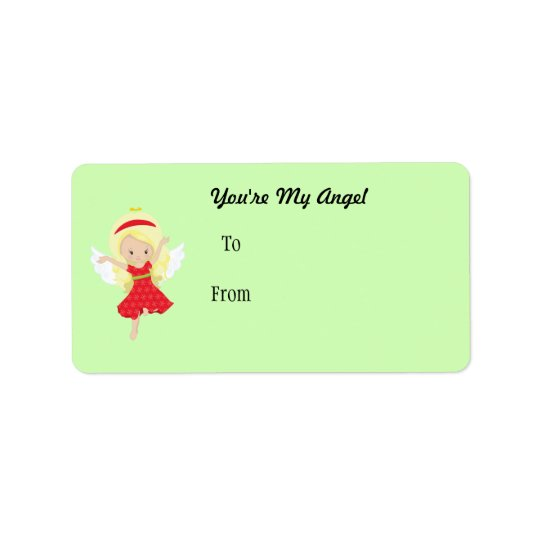 Cartoon Girl Angel Label