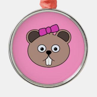 Cartoon Girl Beaver Face Ornament