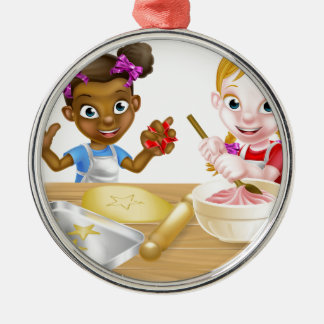Cartoon Girl Chefs Silver-Colored Round Decoration