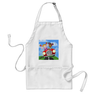 Cartoon Girl Children Driving Car Standard Apron