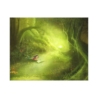 cartoon girl fancy green land Stretched Canvas Canvas Print