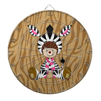 Cartoon Girl in Zebra Costume Dartboard