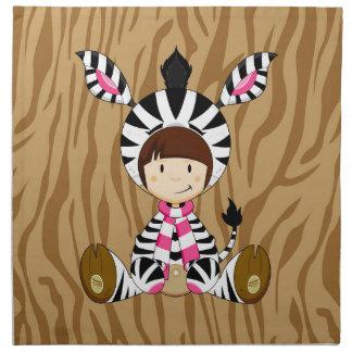 Cartoon Girl in Zebra Costume Napkin