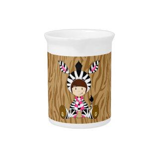 Cartoon Girl in Zebra Costume Pitcher