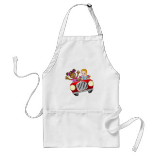 Cartoon Girl Kids Driving Car Standard Apron