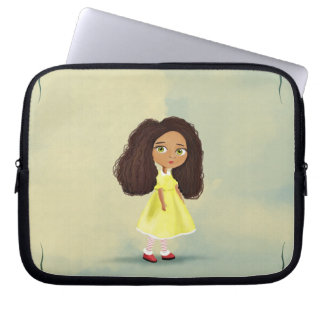 cartoon girl with the curly hair Electronics Bag Laptop Sleeve