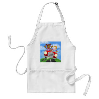 Cartoon Girls Driving Car Standard Apron