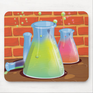 Cartoon Glass Science equipment on a bench Mouse Mat