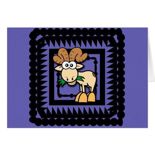 Cartoon Goat Birthday Card