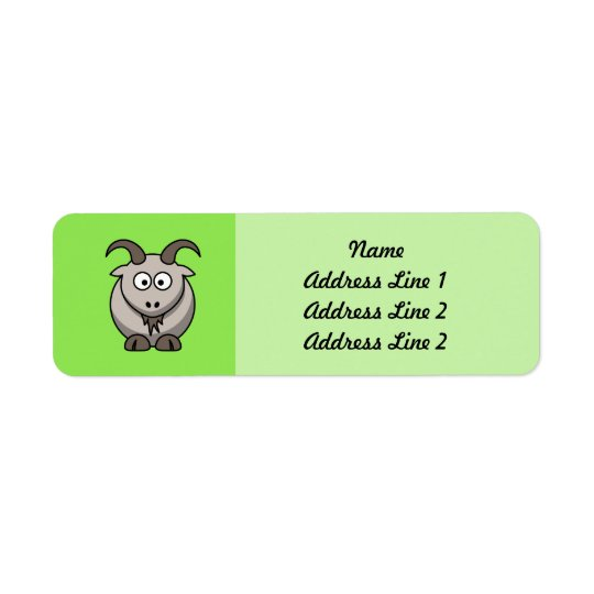 Cartoon Goat on Bright green Background Return Address Label