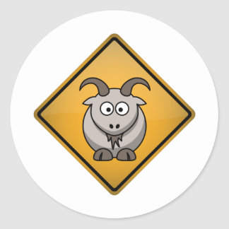 Cartoon Goat Warning Sign Classic Round Sticker