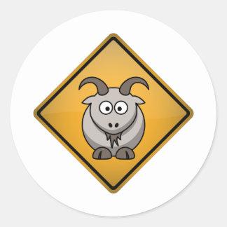 Cartoon Goat Warning Sign Round Sticker