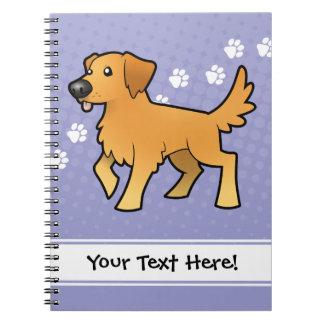 Cartoon Golden Retriever Notebooks