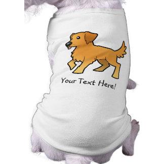 Cartoon Golden Retriever Sleeveless Dog Shirt