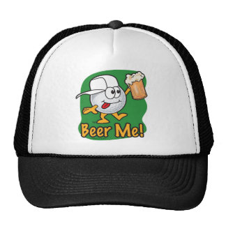 Cartoon Golf Ball Drinking A Beer Cap
