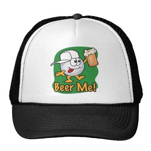 Cartoon Golf Ball Drinking A Beer Trucker Hat