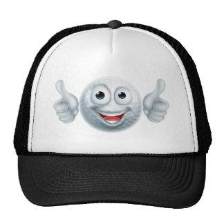 Cartoon Golf Ball Man Character Cap