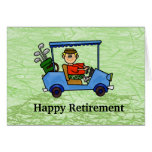 Cartoon Golfer in Cart Retirement Card