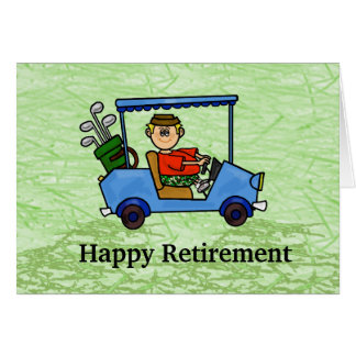 Cartoon Golfer in Cart Retirement Card
