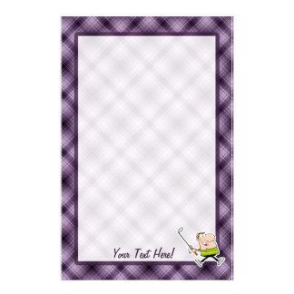 Cartoon Golfer; Purple Stationery