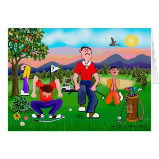 Cartoon Golfers - For the Love of Golf Cards