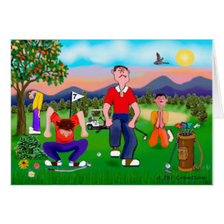 Cartoon Golfers - For the Love of Golf Greeting Card