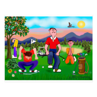 Cartoon Golfers - For the Love of Golf Postcard