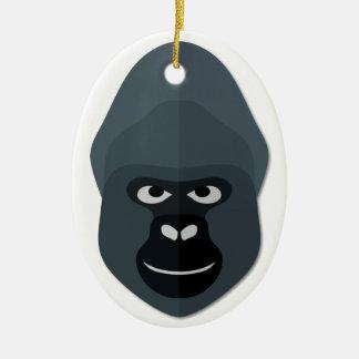 Cartoon Gorilla Head Christmas Ornament