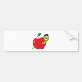 Cartoon Graduate Worm In Apple Bumper Sticker