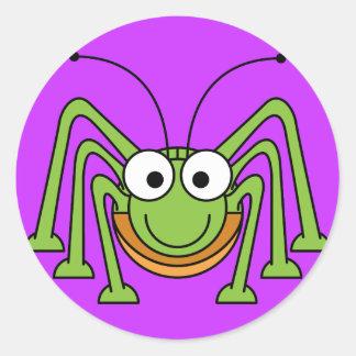 Cartoon Grasshopper Classic Round Sticker