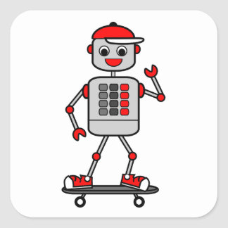 Cartoon Gray Robot Wearing Red Cap on Skateboard Square Sticker
