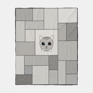 Cartoon Gray Tabby Patchwork Blanket