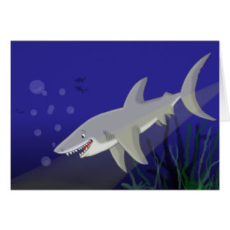 Cartoon Great White Shark Greeting Card