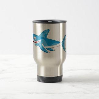 Cartoon Great White Shark Travel Mug