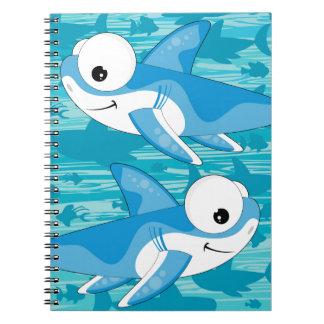 Cartoon Great White Sharks Notebook