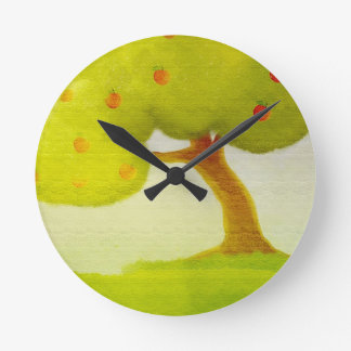 cartoon green apple tree Wall Clock