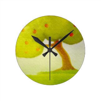 cartoon green apple tree Wall Clock