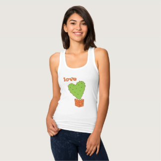 Cartoon green cactus with love tank top
