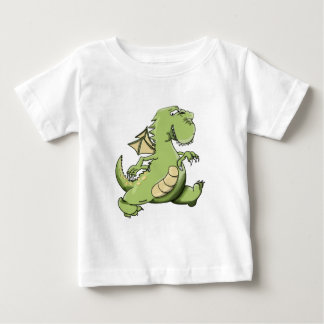 Cartoon green dragon walking on his back feet baby T-Shirt
