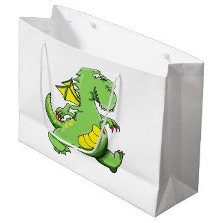 Cartoon green dragon walking on his back feet large gift bag