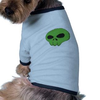 cartoon green skull ringer dog shirt