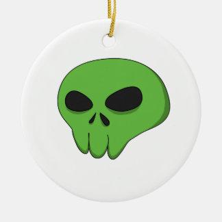 cartoon green skull round ceramic decoration