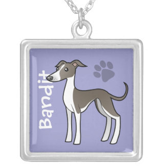 Cartoon Greyhound / Whippet / Iggy (add name) Square Pendant Necklace