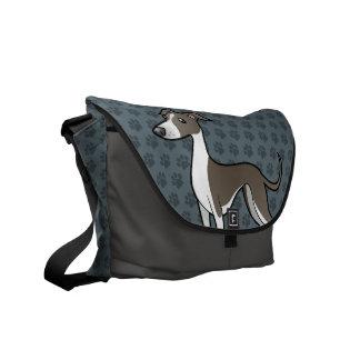 Cartoon Greyhound / Whippet / Italian Greyhound Courier Bags