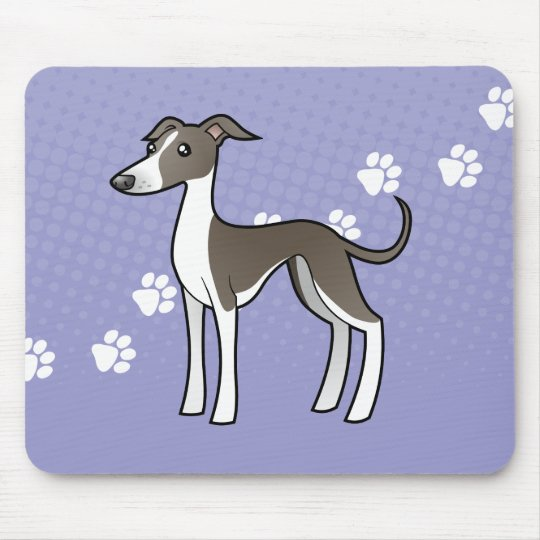 Cartoon Greyhound / Whippet / Italian Greyhound Mouse Mat