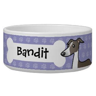 Cartoon Greyhound / Whippet / Italian Greyhound Pet Bowls